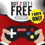 Buy 2 Get 1 Free Promotion Vector Illustration Stock Illustration