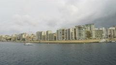 Sliema, Promenade, Mediterranean Sea, Republic of Malta, Real Time, 4k - stock footage