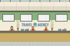 Front Of Travel Agency Counter Vector Illustration Stock Illustration