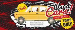Used Car Best Deal 1500x600 pixel Banner Vector Illustration Stock Illustration