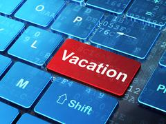 Vacation concept: Vacation on computer keyboard background - stock illustration
