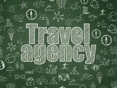 Vacation concept: Travel Agency on School board background Stock Illustration