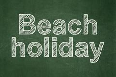 Travel concept: Beach Holiday on chalkboard background - stock illustration