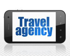 Vacation concept: Smartphone with Travel Agency on display Stock Illustration
