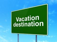 Tourism concept: Vacation Destination on road sign background - stock illustration