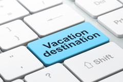 Tourism concept: Vacation Destination on computer keyboard background - stock illustration