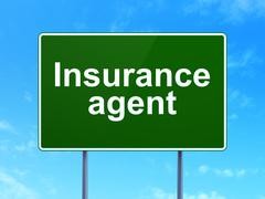 Insurance concept: Insurance Agent on road sign background Stock Illustration