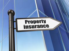 Insurance concept: sign Property Insurance on Building background - stock illustration
