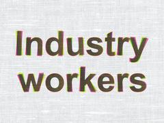 Industry concept: Industry Workers on fabric texture background - stock illustration