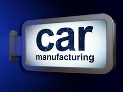 Manufacuring concept: Car Manufacturing on billboard background Piirros