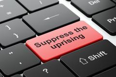 Politics concept: Suppress The Uprising on computer keyboard background - stock illustration