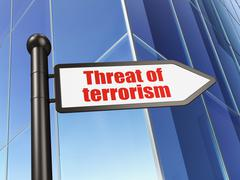 Politics concept: sign Threat Of Terrorism on Building background - stock illustration