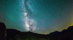 Time Lapse - Milky Way Galaxy Moving Over the Mountain Range Stock Footage