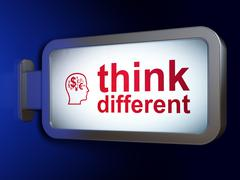 Learning concept: Think Different and Head With Finance Symbol on billboard - stock illustration