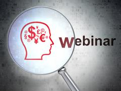 Learning concept: Head With Finance Symbol and Webinar with optical glass - stock illustration