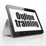 Learning concept: Tablet Computer with Online Training on display Stock Illustration