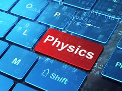 Education concept: Physics on computer keyboard background - stock illustration