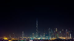 Dubai Skyline Extreme Wide Angle Establishing Timelapse at Night Stock Footage