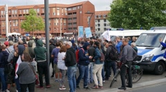 AFD election campaign police cordon at counterdemonstration Braunschweig Stock Footage