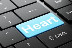 Healthcare concept: Heart on computer keyboard background - stock illustration