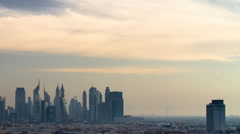 Extreme Wide Angle Day to Night Timelapse Dubai Skyline Stock Footage