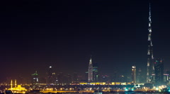 Dubai Skyline Extreme Wide Angle Establishing Timelapse at Night Stock Footage