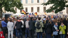 AFD politic election campaign and massive counterdemonstration Braunschweig city Stock Footage