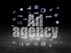 Advertising concept: Ad Agency in grunge dark room - stock illustration