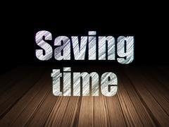 Time concept: Saving Time in grunge dark room - stock illustration