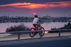 San Pedro del Pinatar, Spain - SEPTEMBER 2015: Cyclist on the Lake Stock Photos