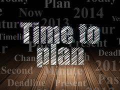 Timeline concept: Time to Plan in grunge dark room Stock Illustration