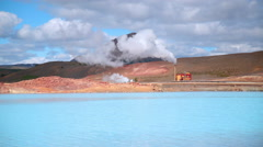 Colorful geothermal power generator Myvatn northern Iceland time lapse 4k Stock Footage