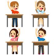 Students Sitting Desks Stock Illustration