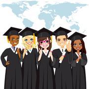 Graduation Group Global Diversity Stock Illustration
