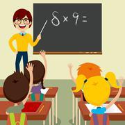Teacher Asking Classroom - stock illustration