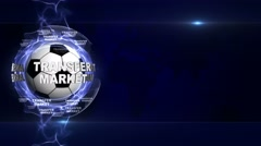TRANSFER MARKET Text Animation and Soccer Ball, Loop, 4k Stock Footage