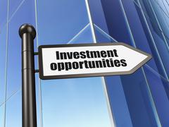 Finance concept: sign Investment Opportunities on Building background - stock illustration