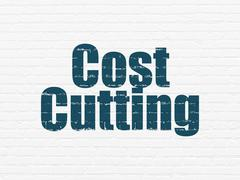 Finance concept: Cost Cutting on wall background Stock Illustration