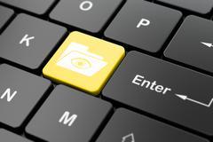 Finance concept: Folder With Eye on computer keyboard background Stock Illustration