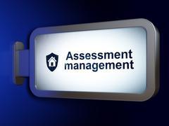 Business concept: Assessment Management and Shield on billboard background - stock illustration