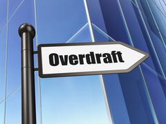 Business concept: sign Overdraft on Building background Stock Illustration