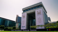 Timelapse Of The Gate, Dubai International Financial Centre Stock Footage