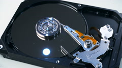 4K. Hard Disk Drive on white background. Stock Footage