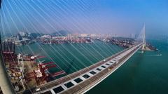 Hong Kong Container Port. Hong Kong 4K Aerial Top View. Stock Footage