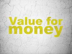 Currency concept: Value For Money on wall background - stock illustration