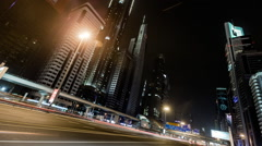 Timelapse Of Sheikh Zayed Road At Dusk, Dubai Stock Footage