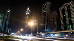 Timelapse Of Sheikh Zayed Road With Skyscrapers Stock Footage
