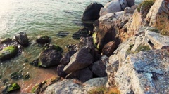 Beautiful coast with spectacular stone formations in the sea Stock Footage