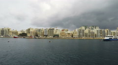 Sliema, Promenade, Mediterranean Sea, Republic of Malta, Real Time, 4k Stock Footage