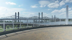 Completed Abraham Lincoln Bridge in Louisville Reveal Cinematic Stock Footage